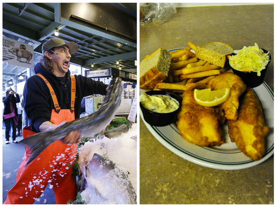 Seattle throws fish, while Green Bay fries them.