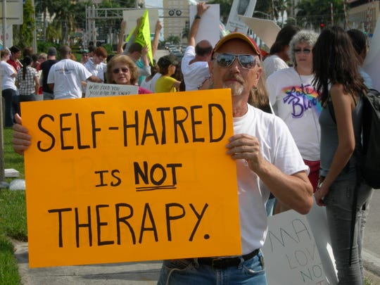 Conversion therapy protester. Photo courtesy of Basic Rights Oregon.
