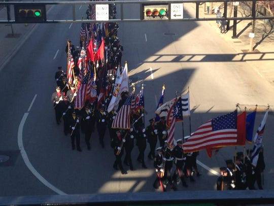 Funeral procession is underway.