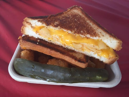 The Cheesy Mac Melt with tater tots from Grilled Cheese