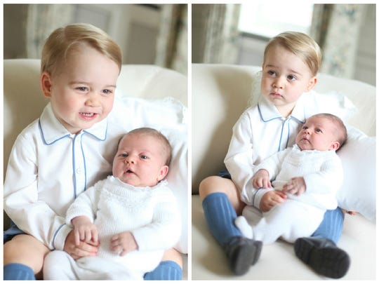 Prince George and Princess Charlotte in two of four
