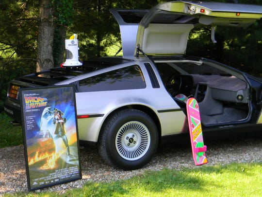 Car enthusiasts Gary and Starla Scholler, of Butler, sometimes dress their 1982 Delorean with props from the Back to the Future movies.