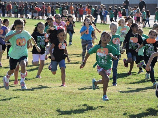 VVES students sprint for the finish line during the