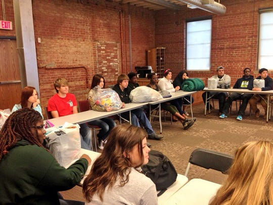 Rapides High School students learn about the Central Louisiana Homeless Coalition and how their donations help people in this area.