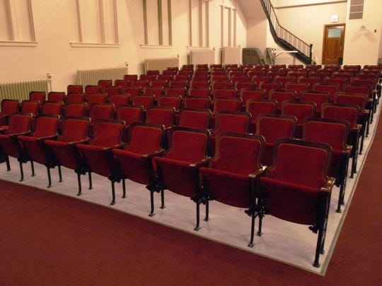 Some of the Wilson Center Auditorium seats that were refurbished during the first phase of renovations. Another 140 seats are being refurbished during this final stage.
