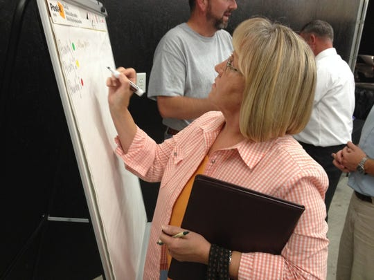 Resident Joanie Baggett posts some of her ideas for the Fredonia park at Thursday's public input meeting.