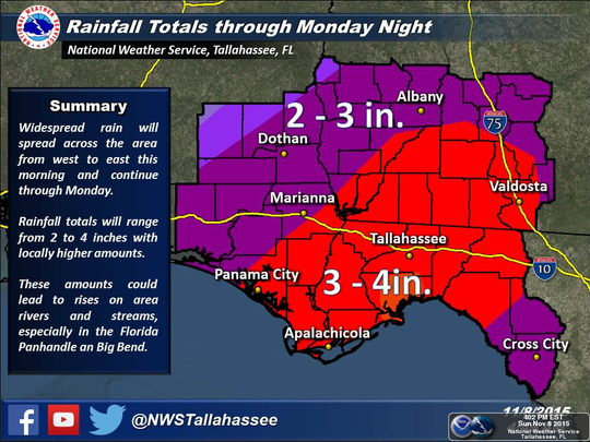 A flash flood watch has been issued for Leon County, and several counties in the region.