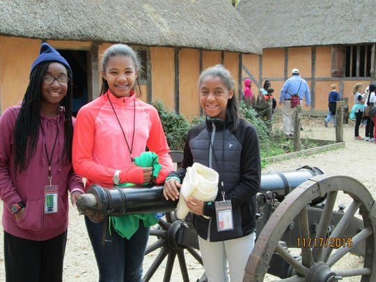 Naomi Valcourt of South Plainfield, Mikayla Cole of Plainfield and Zoe Rose of Watchung stop for a break during a tour.
