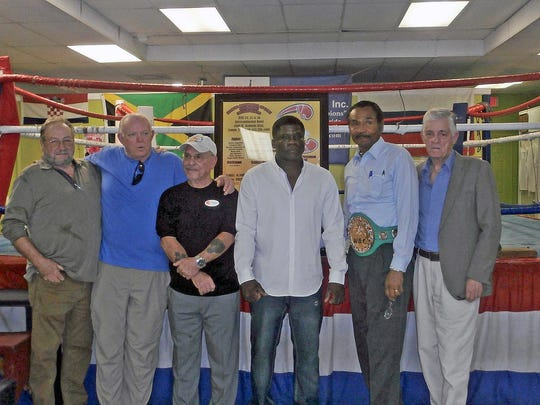From left, Ric Bays, Don Balas, Butch, Freeman Barr, Marvin Camel and Dave Marks from Saturday's Florida Boxing Hall of Fame induction announcement.