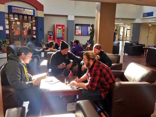 Louisiana College students hang out in the student center between classes Monday, the first day of the spring semester.