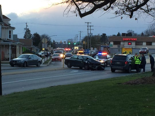 Police respond to a crash on Carlisle Avenue in West Manchester Township.