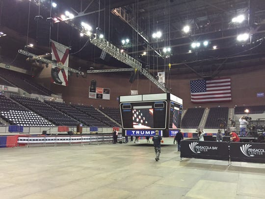 The Pensacola Bay Center is quiet before tonight's Donald Trump Rally.