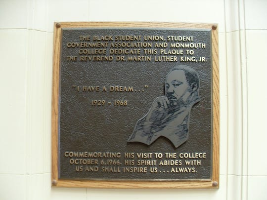 A plaque in Wilson Hall commemorating Martin Luther King, Jr.'s Oct. 6, 1966 visit and speech to what was then-Monmouth College in West Long Branch.