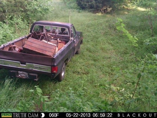 A trail camera image shown at the trial of Kenneth
