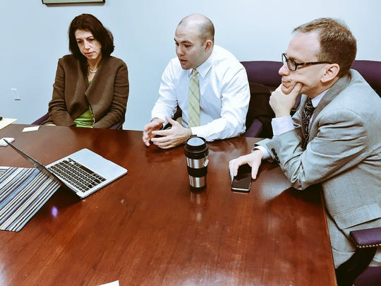 JC Glancy (center), CEO of the Austin-based tech startup Counsl, meets with Delaware Department of State officials Andrea Tinianow, director of corporate and international development, and Rick Geisenberger, chief deputy secretary of state.