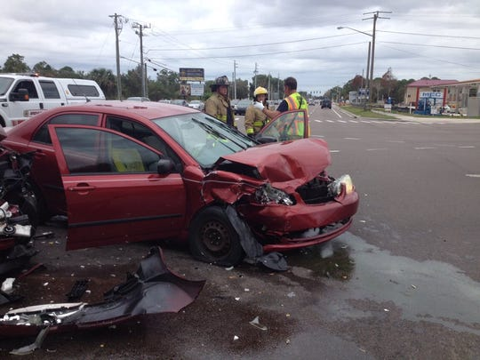 Two people were seriously injured in a crash on Pineda