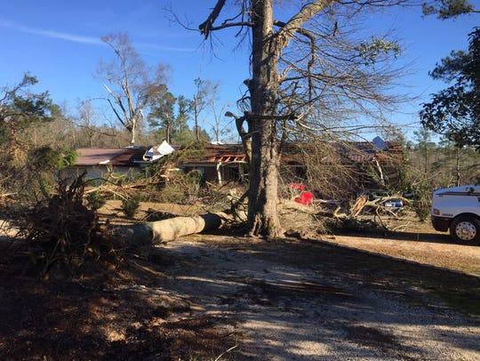 Tornado damage in Century