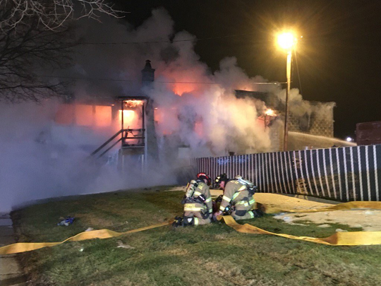 Fond du Lac firefighters battle a blaze Tuesday morning that destroyed The Wayside Bar on West Division St.