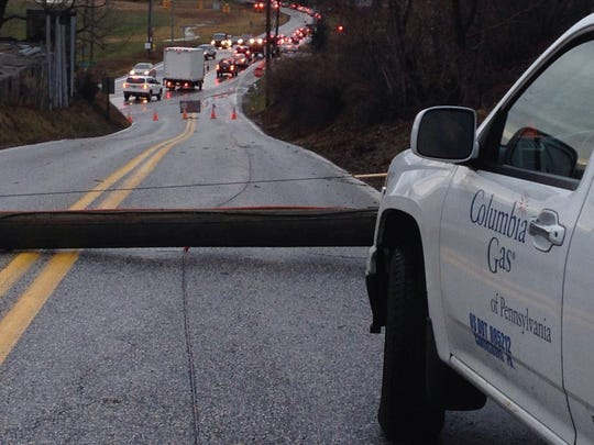 Downed utility has been reported on York Road and Lewisberry Road in both directions between Susquehanna Trail and Locust Lane, according to 511PA.com.