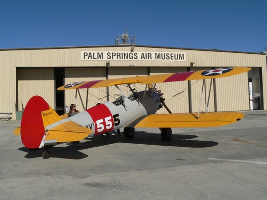 This Desert Sun file photo shows a Stearman biplane at the Palm Springs Air Museum. It was involved in a landing that left two people injured Wednesday.