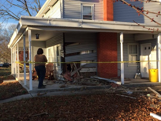 This building was damaged when a car crashed into it on Friday, March 11, 2016. (Photos courtesy of Michael Gorsegner, CBS21 News)