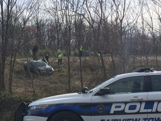 Police investigate the scene of an incident near the Yocumtown exit on I-83 northbound.