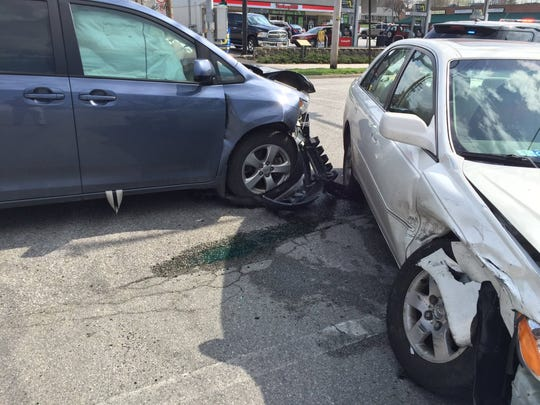 Two vehicles collided at the intersection of Frederick Street and Forney Avenue in Hanover Borough Friday afternoon.