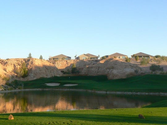The view from the tee of the par-3 second hole at Falcon Ridge Golf Course.