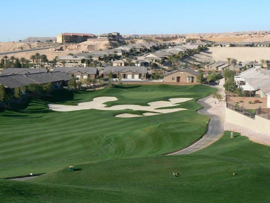 The view from the tee box of the 17th hole at Falcon Ridge Golf Course in Mesquite. Falcon Ridge is just one of a handful of Mesquite golf courses being used for the 2018 Mesquite Amateur from May 28 - June 1, 2018.