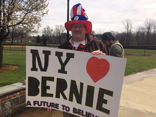 Tom Lamoree, 42, of Hyde Park is one of the first attendees in line for the Bernie Sanders rally at Marist College.