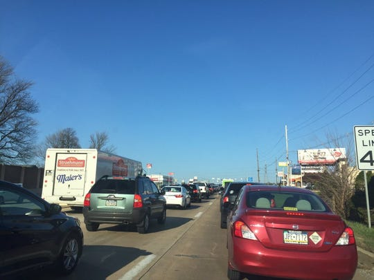 Traffic is backed up as far as Pennsylvania Avenue on Route 30 in York following delays caused near the Hellam exit on Route 30 eastbound.