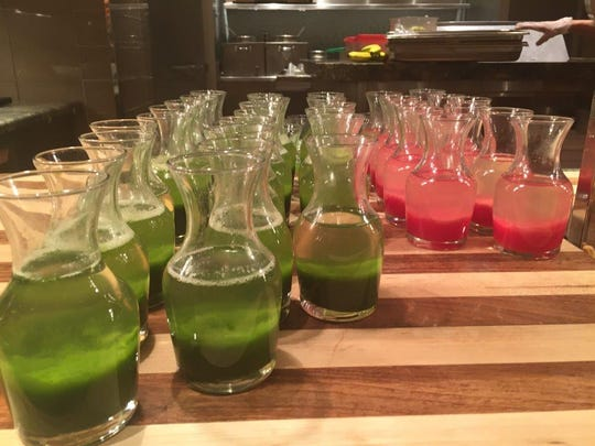 Pressed juices at The Buffet at the Wynn Las Vegas.