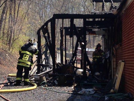 Crews fight a blaze on the 300 block of Steigerwalt