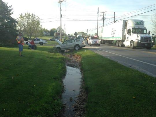 An SUV is stuck along Carlisle Pike in Hamilton Township