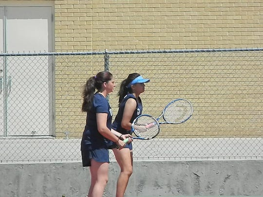 Ruidoso next meets NMMI and Portales  at 11 a.m. in Roswell April 26.  Seen here are Sidney Davis and Christina Fragoso at the Quad Tournament in Roswell.