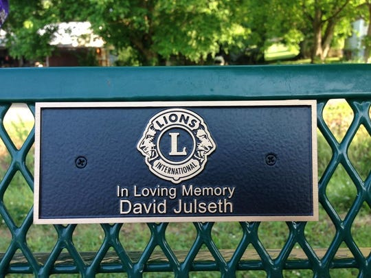 The plaques on the benches pay tribute to Lion's Club
