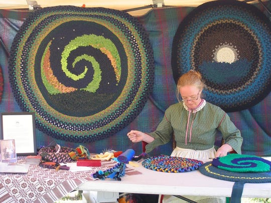 Antique Hill at the Tunbridge Fairgrounds will offer a glimpse into Vermont's past with demonstrations of how our ancestors lived. The photo shows hooked rugs being made.
