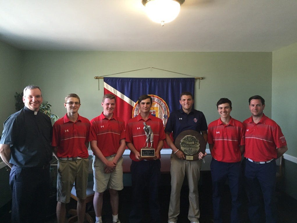Stepinac defeated Iona Prep to win its first CHSAA golf championship since 1997. Pictured are Father Tom Collins, Chris Garceau, Brendan Cooney, Chris Collins, Paul Terminello, J.P. Collins, and coach Matt Hogan.