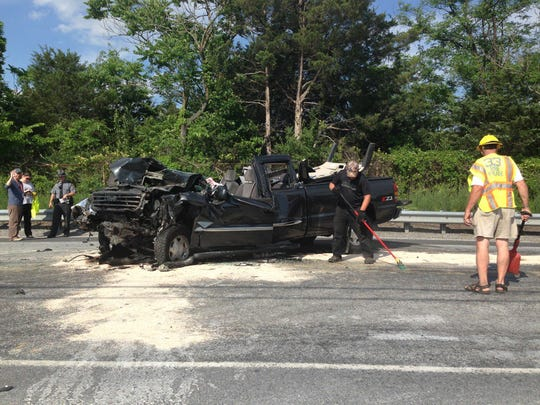 Crews respond to a crash on Carlisle Pike in Oxford Township on Monday.