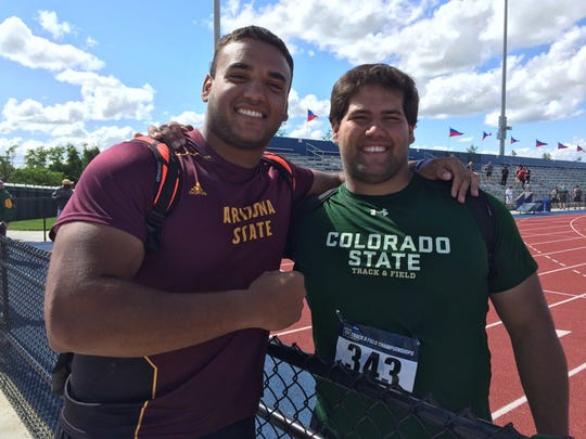 Brothers Ahmed Hassan of Arizona State, left, and Mostafa Hassan of CSU at the NCAA Track & Field West preliminary meet last month in Lawrence, Kansas.