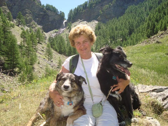 Dianne Carnegie with her rescue dogs in the French