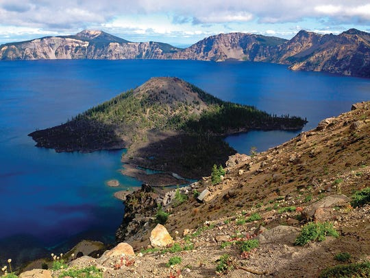Crater Lake is the backdrop for the national park lodge