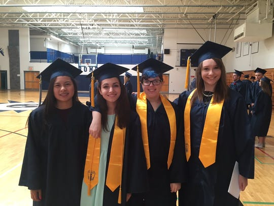 Stissing Mountain grads Frances Vu with Kayla Bowen,