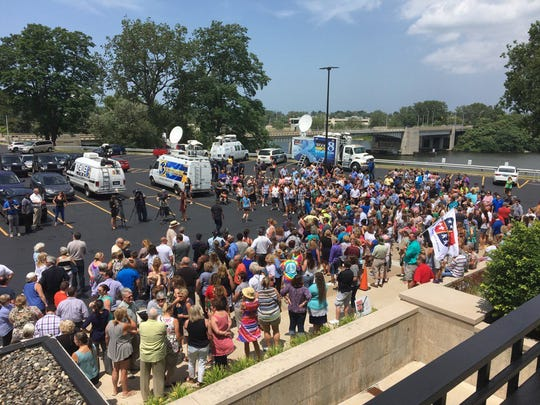 Hundreds gather outside the Berrien County Courthouse