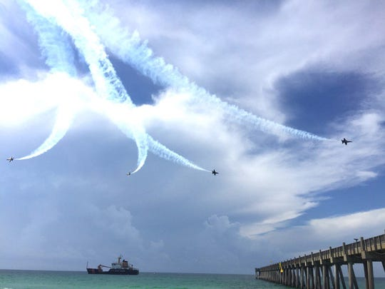 The Blue Angels fly over Pensacola Beach on Wednesday