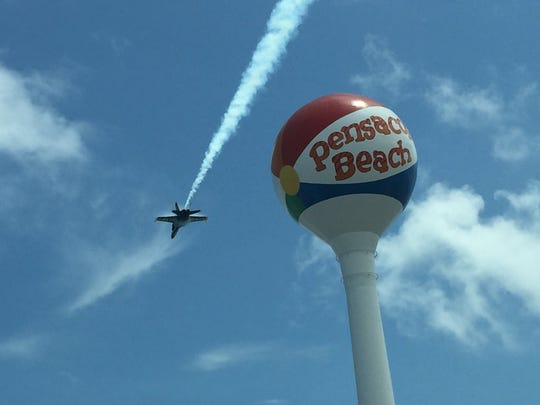 The Blue Angels fly a practice show Thursday on Pensacola Beach.