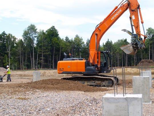 The Vermont Rail Inc. salt shed site under construction on Thursday, July 14.
