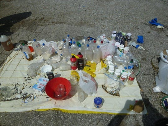 Methamphetamine, precursors and components seized from a meth lab during a raid by the St. Clair County Drug Task Force