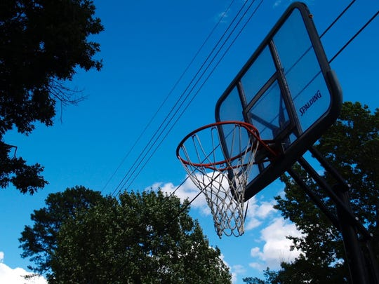 One of the many basketball hoops that lined the streets of the Chamberlin neighborhood in South Burlington on Tuesday, July 19.