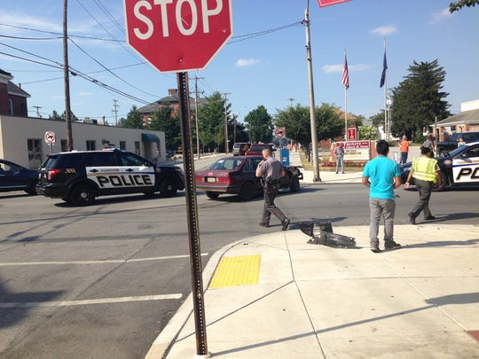 Police respond to a crash involving a vehicle into a store in Hanover on Wednesday afternoon.
